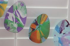 Spin Art Easter Egg Garland - maybe with jewels and glitter?