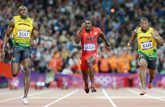 Usain Bolt and fellow Jamaican Yohan Blake finished 1-2 in the 100-meter dash while Justin Gatlin of the U.S. earned the bronze medal. #london2012