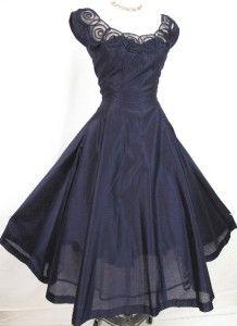 Vintage Navy Silk Cocktail Dress