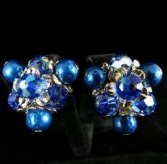 Lovely Vintage Goldtone Aurora Borealis Cluster Earrings Signed Vendome | eBay