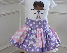 Birthday outfit Doc McStuffins Birthday outfit pink purple skirt set chevron polka dot clothing applique shirt toddler birthday
