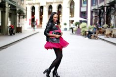 Pink dress & rock
