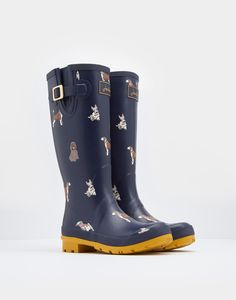 Printed French Navy Fido Dog Wellies  | Joules UK