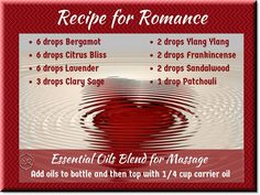 Sensual massage oil blend of essential oils for Valentine's Day
