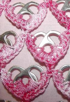 Varigated Pink Heart Upcycled Pop Tab Purse Crocheted Handmade. $45.00, via Etsy.