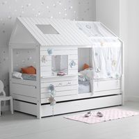 Kids White Cabin Bed Silversparkle Low Hut Children's Bed House Beds Cabin  And Luxury