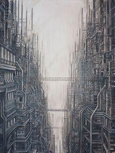 Peintures dun futur surpeuplé cauchemardesque peinture multiple futur cauchemard grande 06 600x800