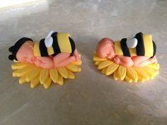 Edible Fondant Bumble Bee on Sunflower Baby Shower/ Baby Topper. $20.00, via Etsy.