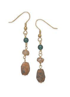 14 Karat Gold Plated Multibead Drop Earrings