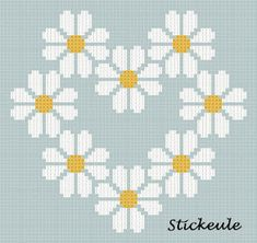 Daisy Heart by Stitckeule blogger Renate Simple flower cross stitch pattern