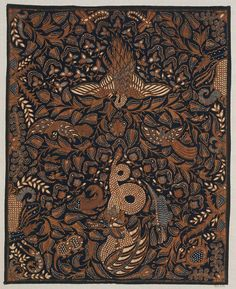 Sample of cotton batik with design of Dark blue ground on which is printed a design of plants andious fish, birds, reptiles and insects, including a dragon, a crocodi …
