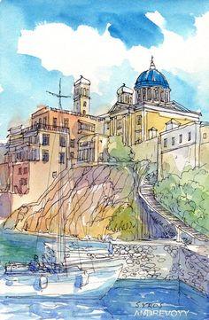 Syros Seaside St. Nicholas Church, Greece, 12 x 8 giclee print, signed via Etsy
