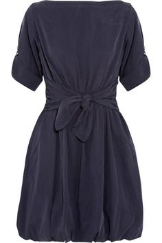 BURBERRY BRIT Knot-front washed-satin dress