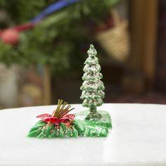Miniature Pine Tree and Flower Figurine