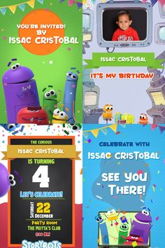 Your guests will like this Electronic Video Invitation Card STORYBOTS we personalize it for you with your data, surprise them Anniversary Invitations, Birthday Party Invitations, Birthday Cards, Electronic Cards, Electronic Invitations, Photo Invitations, Invitation Cards, Robot Tv, Netflix Kids