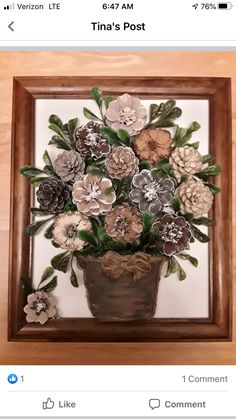 Pine Cone Art, Pine Cone Crafts, Pine Cones, Diy Home Crafts, Garden Crafts, Simple Canvas Paintings, Flower Decorations, Fun Projects, Flowers