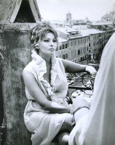 Sophia Loren on the set of Vittorio De Sica's Yesterday, Today, and Tomorrow, 1963