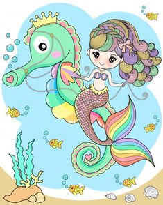 Find Cute mermaid riding a seahorse stock vectors and royalty free photos in HD. Cute Mermaid, Mermaid Art, The Little Mermaid, Unicorns And Mermaids, Mermaids And Mermen, Art Drawings For Kids, Art For Kids, Unicornios Wallpaper, Mermaid Drawings