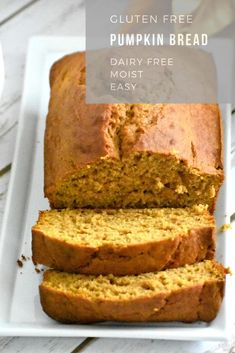 This easy gluten free pumpkin bread recipe is also dairy free. It is moist, light and has the perfect pumpkin flavor. Every year this gluten free loaf is a huge hit and one of our favorite pumpkin recipes. Dairy Free Thanksgiving Recipes, Easy Gluten Free Desserts, Gluten Free Baking, Dairy Free Recipes, Dairy Free Gluten Free Desserts, Sin Gluten, Gluten Free Pumpkin Bread, Healthy Pumpkin Bread, Sem Lactose