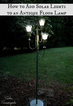 Antique floor lamp or vintage floor lamp needs rewiring but you just don't want to deal with it? Upcycle it into charming backyard decor by outfitting it with small solar lights or solar lanterns.