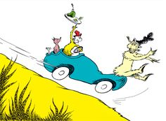 Green Eggs and Ham - in a car racing across the hills.