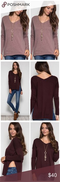 Slit light sweater Mauve/dusty purple v neck sweater, very soft material, big slit on the sides, longer length than usual. Fits one size up. Available in different colors, please ask for listing Sweaters V-Necks