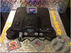 Nintendo 64 chocolate cake rice crispy control and sugar paste games D'Licious cake by Wanda