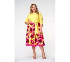 Желтые платья больших размеров с принтом и широкой юбкой  Описание товара: Романтичное платье с отрезной расклешенной юбкой, завязывающееся на пояс. Верх однотон, юбка принт. По низу юбки настрочено нежное кружево с фестонами. Вырез горловины округлый, рукав 3/4. Ткань - креп с эластаном; состав: вискоза - 65%, полиэстер - 25%, эластан - 10%. Цвет: верх желтый, юбка мультиколор.  * соответствует измерениям базовых размеров 58 - 62 #платье Tie Dye Skirt, Midi Skirt, Skirts, Fashion, Moda, Midi Skirts, Fashion Styles, Skirt