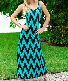 Look what I found on #zulily! Aqua & Black Chevron Cutout Maxi Dress #zulilyfinds http://www.zulily.com/invite/kripley070