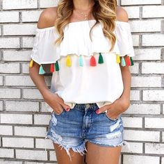 Tassel off the shoulder top.