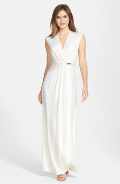Ellen Tracy Cinched Waist Jersey Maxi Dress available at #Nordstrom  Rosanne - I like this dress as is for formal can be sent out. New knit?