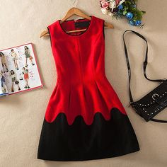 OL Style Contrast Color Round Neck Sleeveless Woolen Dress
