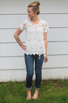 Stylist: Love this shirt! Really into the large lace cutout trend for skirts & blouses.