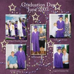 graduation day A very simple layout of my grandson Logan on his graduation day I wish it had some jazz or pizzaz but I am on a mission to get his book DONE TFL Senior Scrapbook Ideas, School Scrapbook Layouts, Graduation Scrapbook, Kids Scrapbook, Scrapbook Sketches, Scrapbooking Layouts, Scrapbook Cards, Digital Scrapbooking, Graduation Balloons