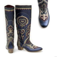Tatar leather boots. Женские сапоги в технике «кожаная мозаика».