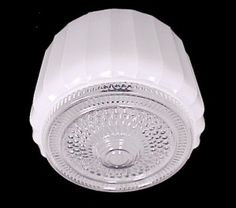 White Art Deco Glass Drum Utility Ceiling Light Shade.  Retro Light Globe ideal for Hanging Pendant or Flush Mount Ceiling Fixture in Bathroom, Kitchen, Laundry or Porch. Bathroom Light Shades, Glass Ceiling Light Shades, Glass Ceiling Lights, Flush Mount Ceiling, Ceiling Fixtures, Lamp Light, Light Fixtures, Light Bulb, Retro Lighting