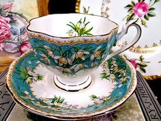 Queen Anne tea cup and saucer Marilyn lily of the valley pattern teacup