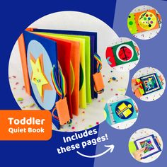 Handmade Toddler Quiet Book with pages you can swap out.. its genius! Motor Skills Activities, Montessori Activities, Kindergarten Activities, Book Activities, Toddler Activities, Activity Books, Educational Toys For Kids, Learning Toys, Educational Activities