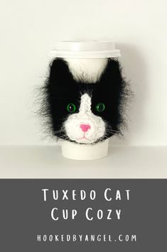 Can you handle the cuteness of this realistic cat cup cozy crochet pattern?! Picture yourself walking around town, sipping a beverage with this purr-fectly adorable cat cozy on your cup! You will be the envy of anyone who is cat obsessed and will never have so much fun crocheting!