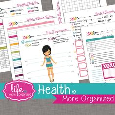 Health. More Organized. - Weight Loss Tracker Food Log Goals/Rewards Measurement Tracker and Workout Log Digital File (6.00 USD) by lifemoreorganized