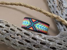 Native American Beaded Chevron Leather Bracelet With by LJGreywolf, $30.00