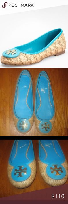 Tory Burch Raffia Straw Turquoise Ballet Flats Size: 7. Woven raffia straw upper. Tory Burch logo piece on vamp. Leather trimmed collar. Leather lining and sole . Made in Brazil. Please note that there is some wear on the inner left shoe, and the box ISN'T included. Tory Burch Shoes