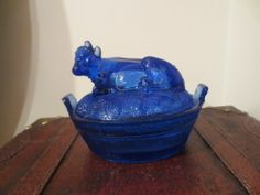 Vintage Depression Glass Cobalt Blue Cow Kitchen Glassware Covered Butter Dish | eBay
