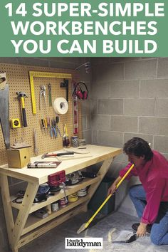Every home workshop (even if it's just a sliver of your garage) needs a quality workbench. One of these 14 designs is sure to suit your needs. Simple Workbench Plans, Diy Workbench, Workbench Organization, Lumber Storage, Diy Garage Storage, Tool Storage, Woodworking Workshop Layout, Woodworking Tips, Diy Shed Kits