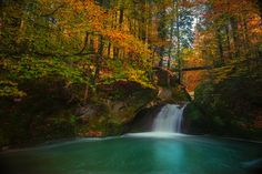 Forest, Autumn Long Exposure Waterfall Bergsee Gol #forest, #autumn, #long, #exposure, #waterfall, #bergsee, #gol