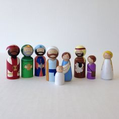 SALE// Nativity Peg Dolls 9pc Set // Christmas por PegHeads en Etsy