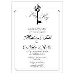 Key Monogram Invitation - Weddingstar