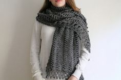 Extra large shawl, winter gray shawl, long knit shawl, gray shrug. Ready for shipping. on Etsy, $89.00
