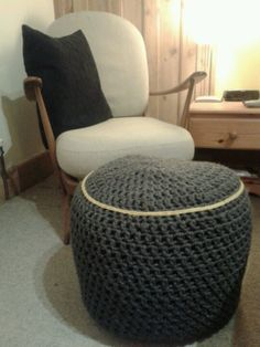 Ercol armchair + handmade crocheted footstool - available to buy in different colours!