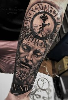 Our Website is the greatest collection of tattoos designs and artists. Find Inspirations for your next Clock Tattoo. Search for more Tattoos. Arm Tattoos For Guys Forearm, Calf Tattoo Men, Arm Sleeve Tattoos, Tattoo Sleeve Designs, Tattoo Designs Men, Arm Tattoos For Men Half Sleeves, Forarm Tattoos, Leg Tattoos, Cr7 Tattoo